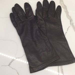 Vintage Miss Aris Black Leather Gloves Lined S 7.5